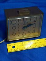 Retro 70s Brown Gold Alarm Clock Westclox Dialite Drowse VTG MCM Space Age WORKS