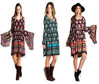 VELEZRA Womens Bohemian Chic Boho Flowy Pheasant Long Bell Sleeve Dress S M L