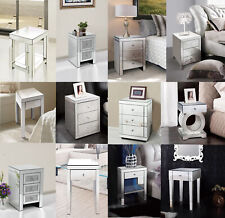 WestWood Mirrored Furniture Glass Bedside Cabinet Table With Drawer Bedroom New