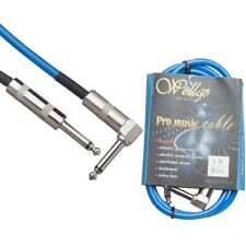 1M 6.5mm Plug Lead Guitar/Bass/Instrument to Amp Audio Cable Angled Jack Blue