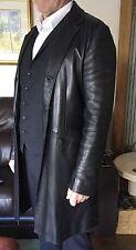 Prada Black Single Breasted Napa Leather Coat/Jacket