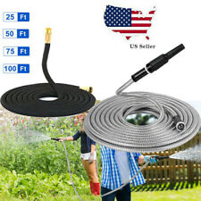 Stainless Steel Garden Water Hose Pipe 25-100FT Flexible Lightweight Watering US