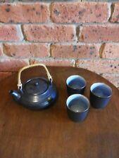 #SUNDAY MARKET# ZEN Asian Style Stoneware Green Tea/Cha Set; Squat Teapot+3 Mugs