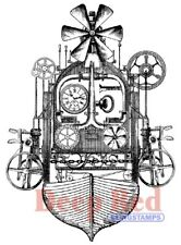 Deep Red Stamps Steampunk Flying Machine Rubber Cling Stamp
