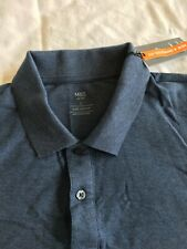 Marks and Spencer M&S Men's Long Sleeved Polo Shirt. Mid Blue. Large L NEW BNWT