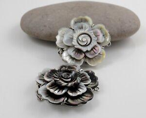 Black Shell Box Clasps,Multi-strand,Brass Findings, Platinum,Large Rose 44mm