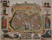 Ierusalem - Dekorativer Plan von Jerusalem - Kupferstich von Stoopendaal - 1702