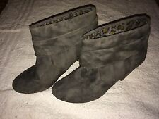 Ladies Grey Ankle Boots - Size UK 5 / 38 - Suede High Heel Casual Work Party