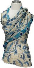 Schal mit Schmucksteinen scarf 100%Wolle wool handbestickt embroidered hell blau