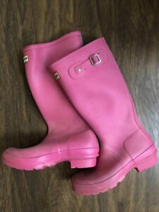 Long Length Pink Hunter Wellington boots Size UK 3