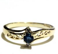 10k yellow gold .03ct SI2 H diamond natural sapphire ring band 1.7g estate