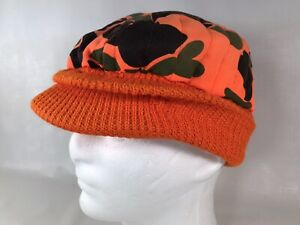 Vtg Blaze Orange Camo Insulated Radar Deer Bird Bow Hunting Knit Short Bill Hat