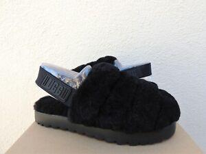 UGG BLACK SUPER FLUFF SLIDE SHEEPSKIN SLIPPERS, WOMEN US 8/ EUR 39 ~NEW