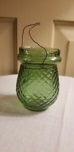 ANTIQUE GREEN GLASS QUILTED DIAMOND BRITISH MADE CHRISTMAS TREE FAIRY LIGHT LAMP