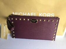 NWT MICHAEL KORS CLUTCH MERLOT AND GOLD SAFFIANO LEATHER WRISTLET WOMENS CLUTCH
