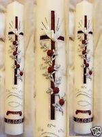 Taufkerze Kommunionkerze Konfirmationkerze Junge Mädchen 40/4cm INKL Schrift 006