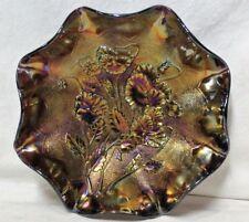 "Vintage Carnival Iridescent Amethyst 9"" Glass Bowl Dish"