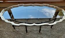 BAKER Faux Bamboo Tortoise Shell Brass Glass Coffee Table Scalloped Edge ** RARE
