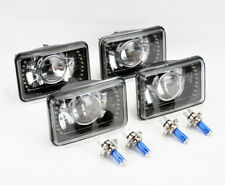 """FOUR 4x6"""" H4 Blk/Chme Glass LED DRL Projector Glass Headlight Conversion GMC"""