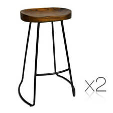 Set of 2 Steel Barstools Wooden Seat Kitchen Dining Chair