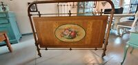 Antique French brocante iron Hospital bed with rose medaillon, around 1900