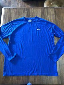 Men's Under Armour Heat Gear Blue Long Sleeve Shirt X-Large