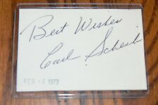 Carl Scheib, Athletics, Cardinals signed Cut Autograph
