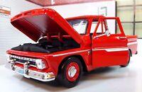 1966 Chevrolet C-10 Fleetside Pickup Truck Diecast Scale Model 1:24 Red 73355