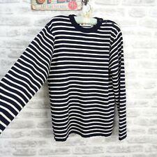 BUSNEL nautical pure wool heavy striped jumper quality dark navy M/L PB705