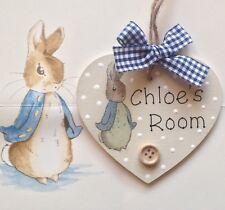 Personalised Heart Decoupage Plaque Bedroom Sign Girl Boy Baby PETER RABBIT Room