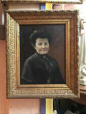 Tableau peinture HST portrait femme noble signé daté 1912