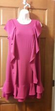 Chetta B | Ruffle  Shift Dress In Magenta Size 10