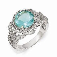 Cheryl M Sterling Silver Cubic Zirconia Paraiba Ring Size 8 #996