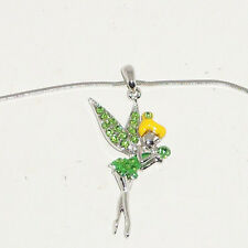 Disney Tinker Bell Swarovski Crystal Necklace Green Stones Platinum Plated Chain