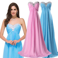 Plus Size Long Chiffon Prom Evening Gown Ball Party Formal Bridesmaid Dresses UK