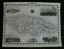 Map of Jamica by J Tallis hand coloured published 1851