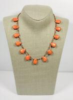 Vintage Necklace Silver Tone & Orange Semi Precious Stone Magnetic Clasp Pretty