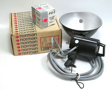 "NOS Norman LH2400 Flash Head Unit w/ New Tube Lamp + 10"" Silver Reflector"