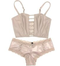 Victorias Secret Very Sexy SET Unlined Strapless Caged Bra Panty Cheeky S/M Faux