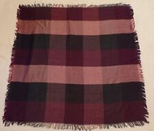 "Vintage Echo Rayon challis scarf, 35"" square, navy, maroon, pale mauve plaid"
