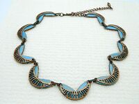 MATISSE RENOIR Unsigned RARE SEINE Design Copper Blue Enamel Necklace