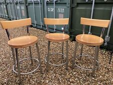 3 Wood And Chrome Kitchen/Bar Stools. Used