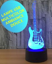 LAMPE GUITARE STRATOCASTER -USB- ambiance -multicolor- chevet enfant -sans piles