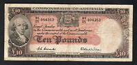 Australia R-62. (1954) 10 Pounds.. Coombs/Wilson - Commonwealth Bank.. Fine+