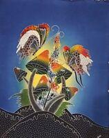 Original Textil Batik Bali Baumwollle Pilze Schmetterlinge Malerei 92 x 72 cm