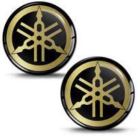 2x 3D Silicone Gel Stickers Decals Yamaha Emblem Logo Car Auto Moto Tuning Gold
