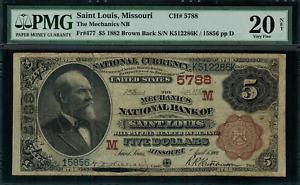 1882 $5 NBN Saint Louis, MO - Brown Back - FR.477 Charter 5788 - PMG 20 NET - VF