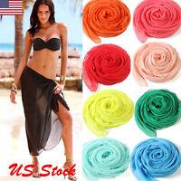 Women's Summer Pareo Dress Sarong Beach Bikini Swimwear Cover Up Scarf Wrap USA