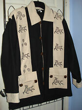 VENUS Imports Cotton Wearable Horse Art Made in Nepal Lined Heavy Jacket Size XL