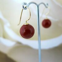 Ohrringe 925er Silber vergoldet, Rot KorallenRot aus MuschelkernPerlen 12mm, TOP